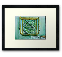 Watercolor Sketch - The Window to Summer. Framed Print