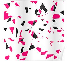 Pink, Black, and White Modern Geo Triangle Pattern Poster