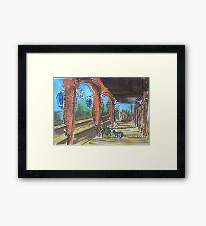Watercolor Sketch - Sicilian Terrace. 2013 Framed Print