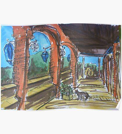 Watercolor Sketch - Sicilian Terrace. 2013 Poster