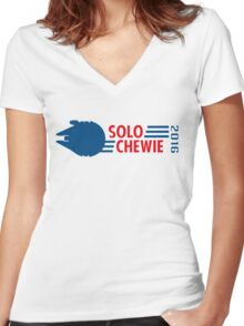 Han Solo - Chewbacca 2016 Women's Fitted V-Neck T-Shirt
