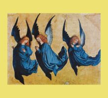 THREE CHRISTMAS ANGELS IN BLUE One Piece - Short Sleeve