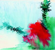 Red and Green Abstract 1 by Anil Nene