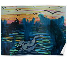 Elephant and Rhino swimming with Whales Poster
