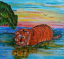 Tiger bathing at sunset by George Hunter