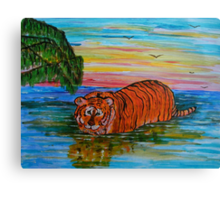 Tiger bathing at sunset Canvas Print