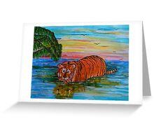 Tiger bathing at sunset Greeting Card