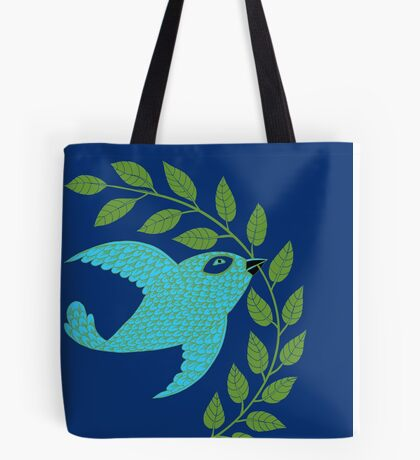 Bluebird with Green Garland  Tote Bag