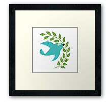 Bluebird with Green Garland  Framed Print