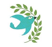 Bluebird with Green Garland  Photographic Print
