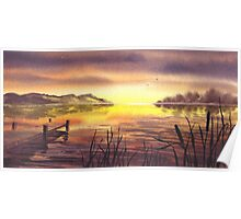 Peaceful Sunset At The Lake Poster