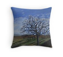 Apple tree by the fallow field in the Winter Throw Pillow