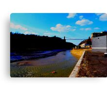 Flowing Avon river under Clifton Bridge Canvas Print