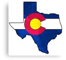 Texas Colorado flag grunge outline Canvas Print