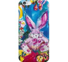 PINK  RABBIT WITH CHRISTMAS CANDLES AND HOLLYBERRIES iPhone Case/Skin