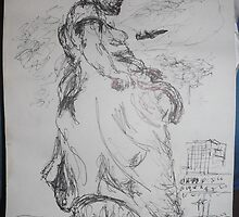 Copied sculpture/Buckingham Palace -(110413)- black biro pen/A5 sketchbook by paulramnora