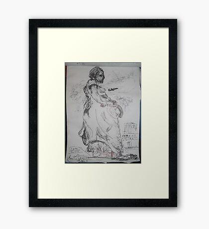 Copied sculpture/Buckingham Palace -(110413)- black biro pen/A5 sketchbook Framed Print