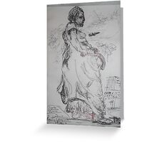 Copied sculpture/Buckingham Palace -(110413)- black biro pen/A5 sketchbook Greeting Card