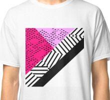 Girly Modern Pink, Black, & White Geometrical  Classic T-Shirt