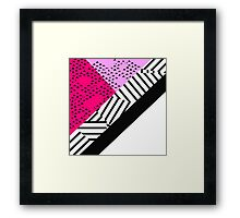 Girly Modern Pink, Black, & White Geometrical  Framed Print