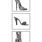 3 shoe doodles by Jacqueline Eden
