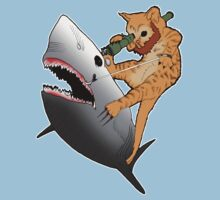 Bearded kitten shooting a shark with a bazooka by Psychobilly-Tee