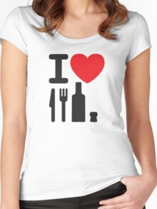 I love NY - a knife, a fork, a bottle and a cork that's the way you spell New York Women's Fitted Scoop T-Shirt