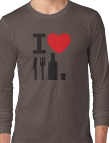I love NY - a knife, a fork, a bottle and a cork that's the way you spell New York Long Sleeve T-Shirt