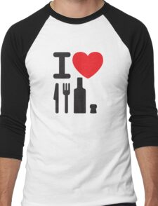 I love NY - a knife, a fork, a bottle and a cork that's the way you spell New York Men's Baseball ¾ T-Shirt