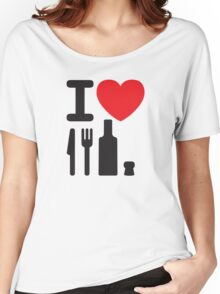 I love NY - a knife, a fork, a bottle and a cork that's the way you spell New York Women's Relaxed Fit T-Shirt