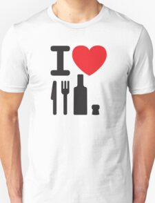 I love NY - a knife, a fork, a bottle and a cork that's the way you spell New York T-Shirt