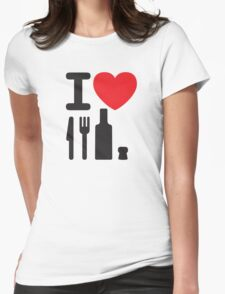 I love NY - a knife, a fork, a bottle and a cork that's the way you spell New York Womens Fitted T-Shirt