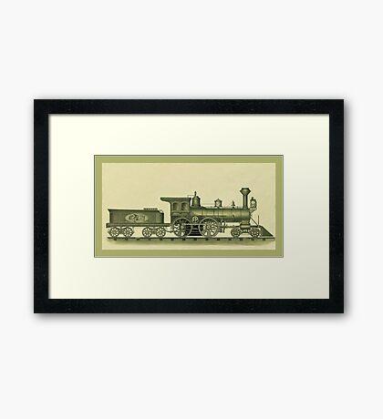 Steam Engine Illustration Framed Print