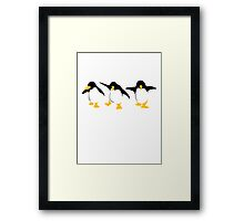 Three dancing Penguins Framed Print