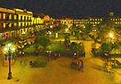 Plaza de La Libertad-Tampico, Mexico-Impasto Style Digital Painting by Paul Wolf