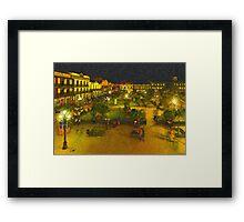 Plaza de La Libertad-Tampico, Mexico-Impasto Style Digital Painting Framed Print