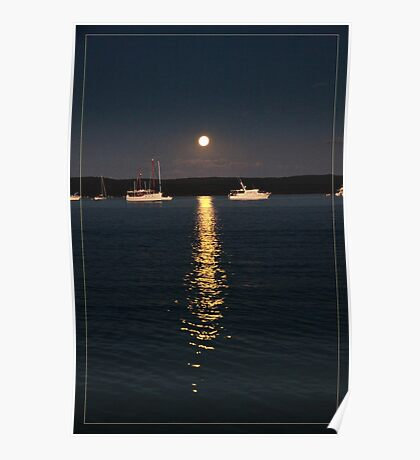 Calm evening mooring stay in moonlight Poster