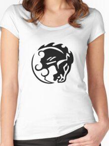 Bioshock Infinite Bucking Bronco Vigor [Black on White] Women's Fitted Scoop T-Shirt