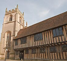 The Guild Chapel in Stratford Upon Avon with old Tudor Houses by Keith Larby