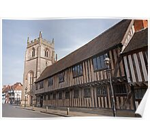 The Guild Chapel in Stratford Upon Avon with old Tudor Houses UK Poster