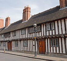 The Guild Chapel in Stratford Upon Avon with old Tudor Houses UK by Keith Larby