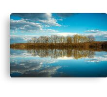 Forest and trees reflections in water nature photo Canvas Print