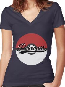 Pokemart retro logo Women's Fitted V-Neck T-Shirt