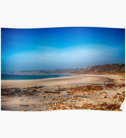 Low tide at Sennen Cove Poster