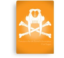Saber-Toothed Cat and Crossbones Poster - Orange Canvas Print