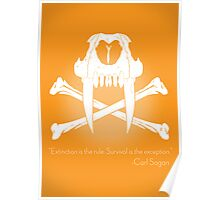 Saber-Toothed Cat and Crossbones Poster - Orange Poster