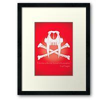 Saber-Toothed Cat and Crossbones Poster - Red Framed Print