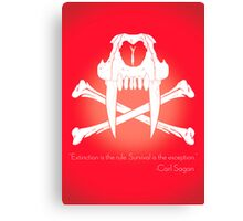 Saber-Toothed Cat and Crossbones Poster - Red Canvas Print