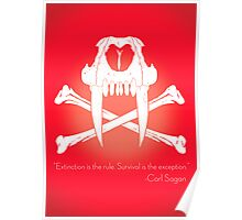 Saber-Toothed Cat and Crossbones Poster - Red Poster