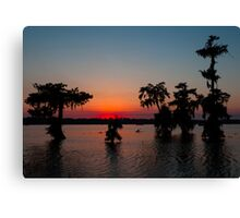 Kayaking at Sunset on Lake Martin, Louisiana Canvas Print